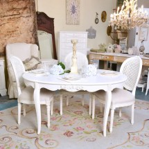 Shabby Cottage Chic Oval White Dining Table Vintage French