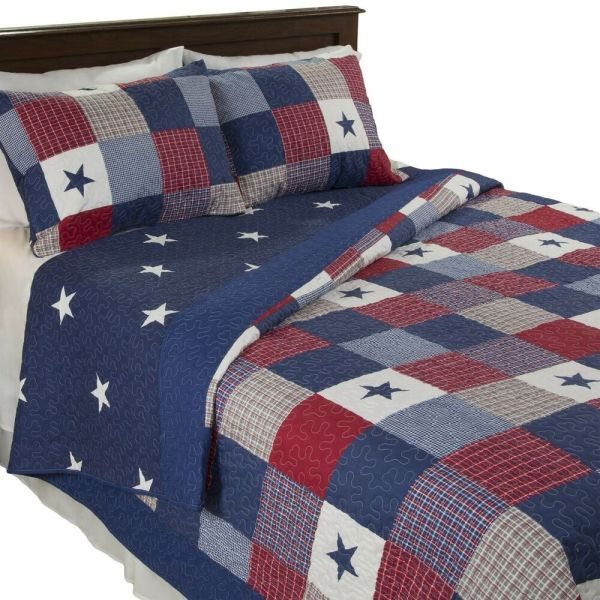 American Quilted Blanket Red White Blue Bedspread Twin