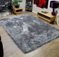 Modern Shaggy Very Thick 9cm Soft Touch Silver Grey Rug ...