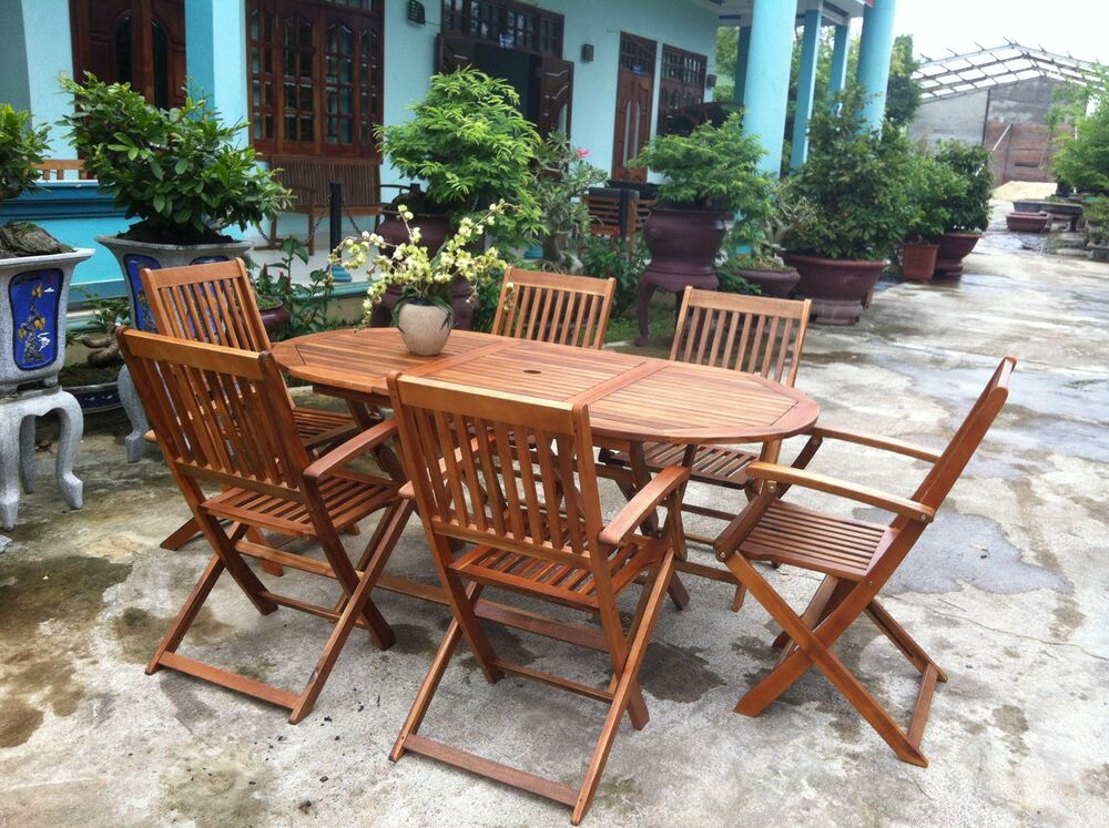 Garden Oval Table & 6 Chairs Wooden Patio Outdoor Dining