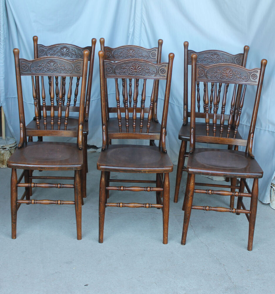 spindle arm chair round loveseat antique set of six matching carved or pressed back chairs | ebay