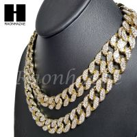 """Iced Out 14k Gold PT 15mm 8.5"""" - 24"""" Miami Cuban Choker ..."""
