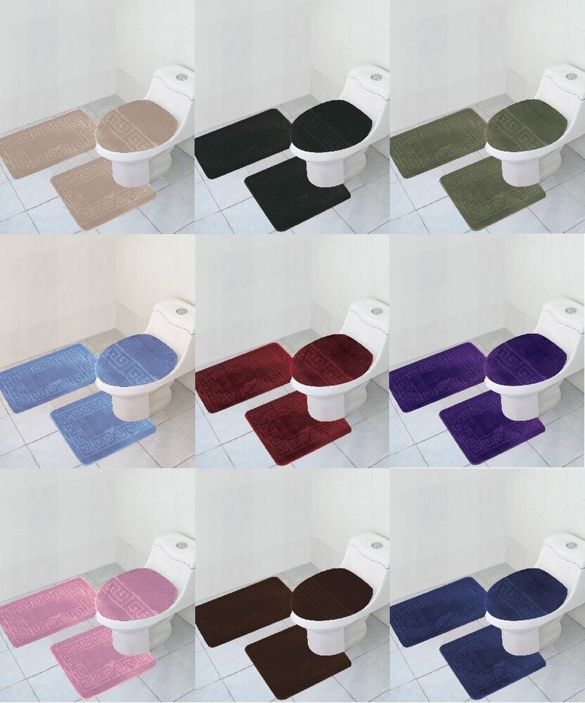 3 Piece BATHROOM rug set Large bath rugs contour anti slip Mat lid cover14color  eBay