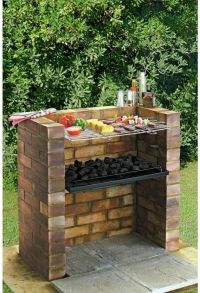 Large Outdoor Brick Charcoal BBQ Stainless Steel Grill Set ...