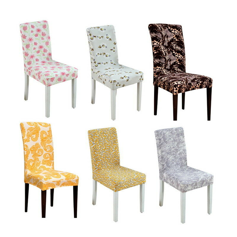 stretch dining chair covers small chairs for spaces 1x printed weddings banquet hotel details about cover decor