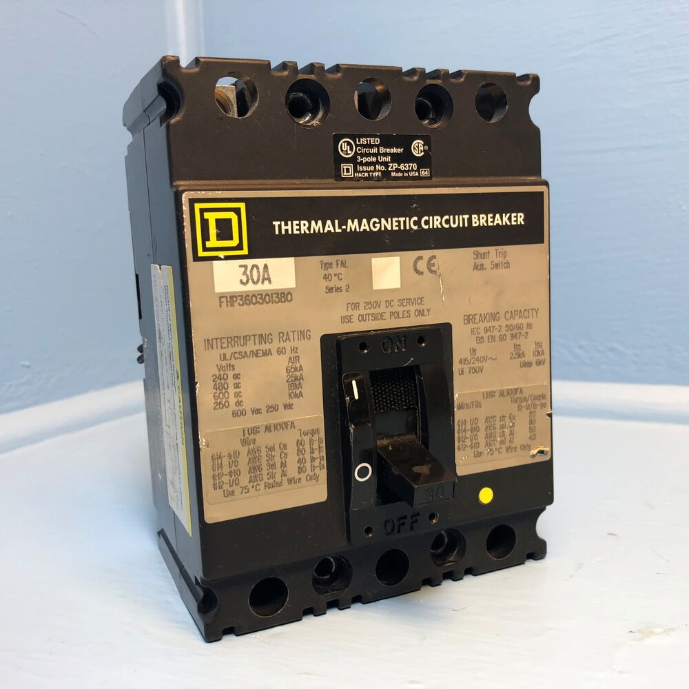 hight resolution of details about square d fhp360301380 30a circuit breaker w aux shunt fal 30 amp short wires