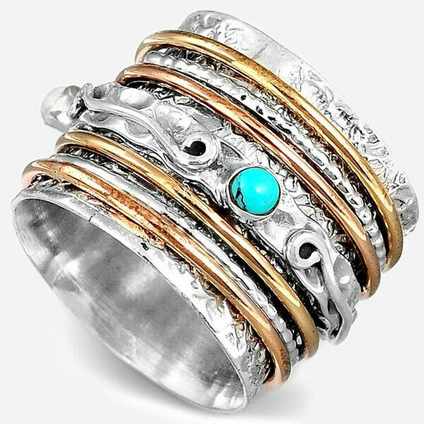 Sterling Silver 925 Spinner Ring With Multi Gemstone Two