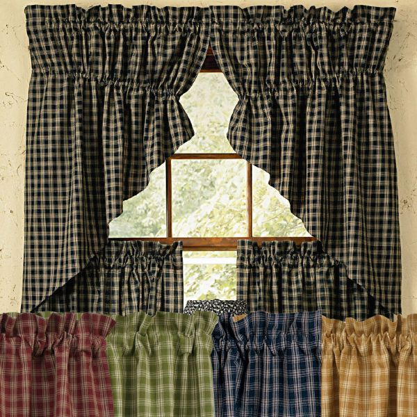 Black Primitive Country Valances Swags Curtains