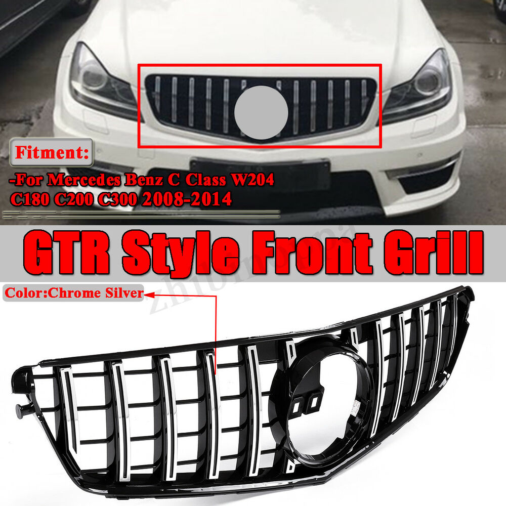 medium resolution of for mercedes c class w204 08 14 black chrome amg gtr style front grill c180 c200 ebay
