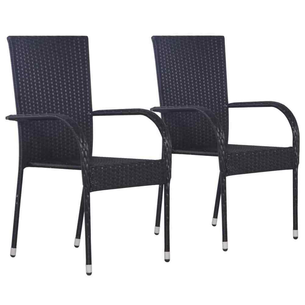 Stacking Dining Chairs Vidaxl 2x Outdoor Stacking Dining Chairs Poly Rattan Black Furniture Seat 8718475614760 Ebay