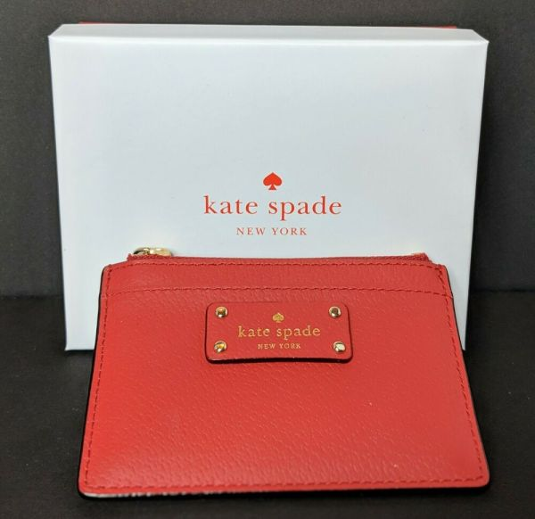 Kate Spade Adi Grove Street Leather Card Coin Case Wallet Holder Red Carpet 98687237444