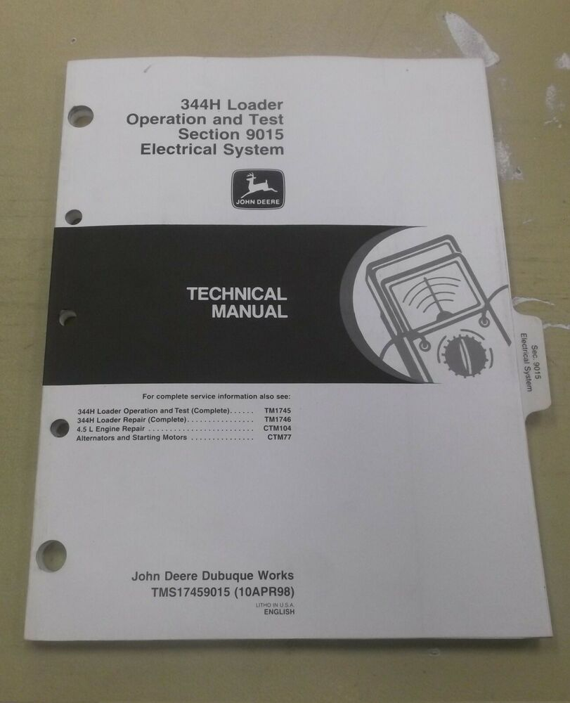 medium resolution of details about john deere 344h wheel loader electrical wiring diagrams service manual tm1745