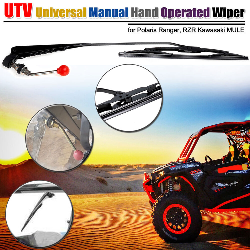 medium resolution of details about utv atv manual hand operated windshield wiper for polaris ranger rzr 900 1000