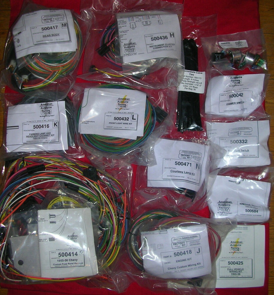 hight resolution of details about 1955 1956 chevy wiring wire harness update kit american autowire 500423 55 56