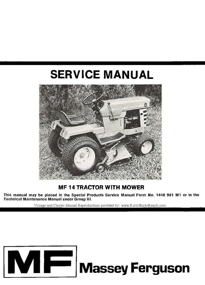Massey Ferguson MF-14 MF14 Lawn and Garden Tractor Service