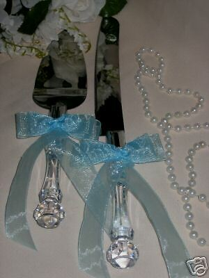 Wedding Supplies Elegant Cake Knife Amp Server Set BLUE EBay