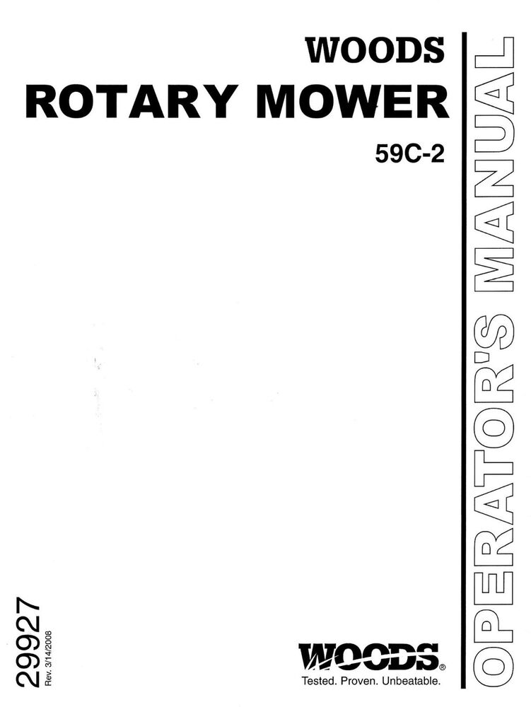 WOODS Belly Mower Model 59C-2 Operators and PARTS manual
