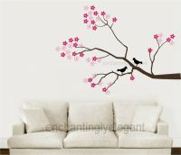 Tree Branch Cherry Blossoms Birds Vinyl Wall Decor Decal