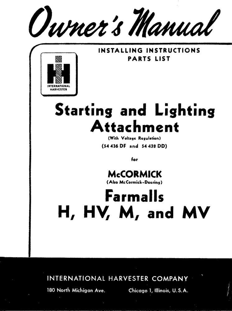 FARMALL H HV M MV Starting & Lighting Installation