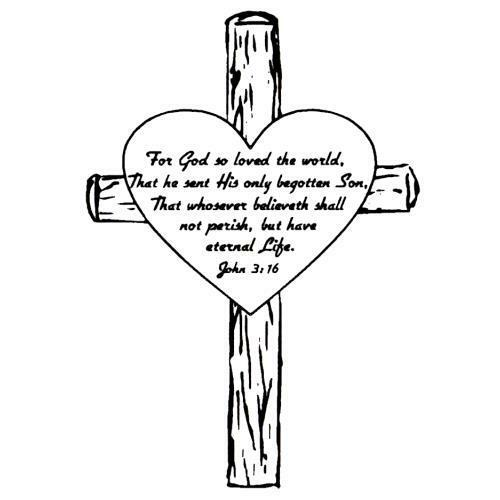 John 3:16 in Heart on a Cross, unmounted rubber stamp