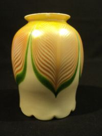 """ANTIQUE ART GLASS 4.75"""" LAMP SHADE, PULLED FEATHER DESIGN ..."""