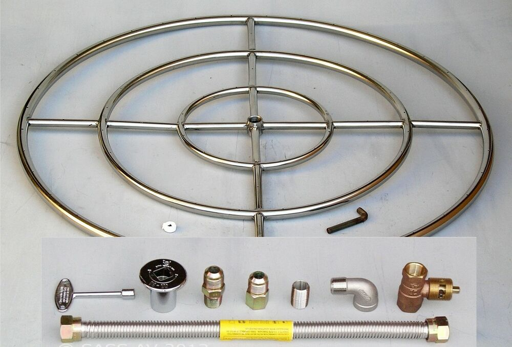 """36"""" Stainless Steel FIRE PIT BURNER RING KIT Natural gas"""