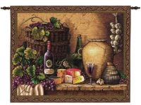 Tuscan Still Life Wine & Cheese Tasting Art Tapestry Wall ...