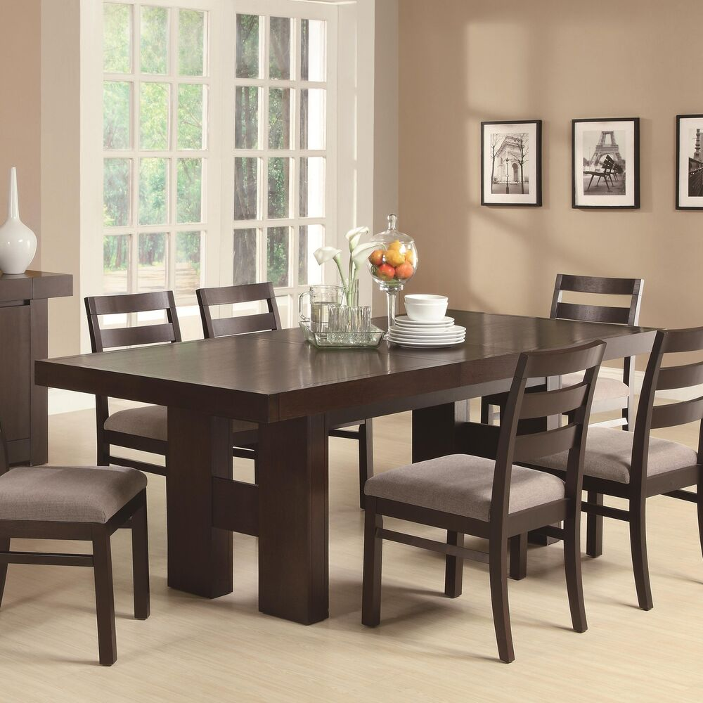 CASUAL CONTEMPORARY DARK WOOD DINING TABLE  CHAIRS DINING ROOM FURNITURE SET  eBay