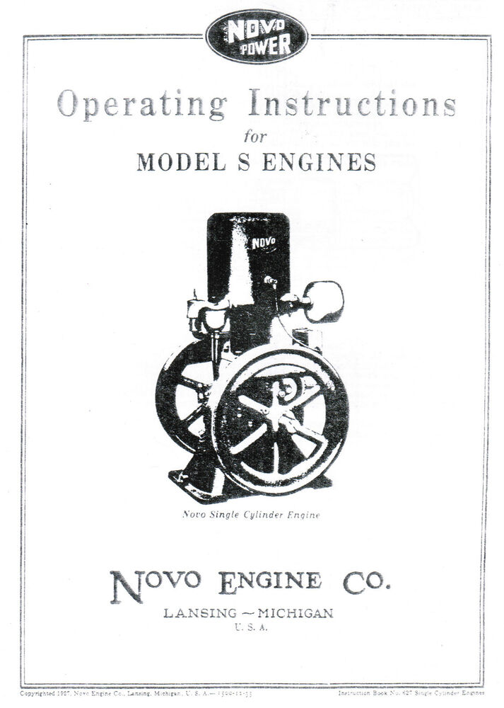 Novo Model S Gas Engine Motor Manual Book hit miss Single
