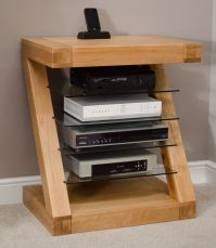 Zaria solid oak designer furniture hi-fi cabinet DVD ...