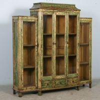 Antique Green Bookcase/Display Cabinet with Glass Doors