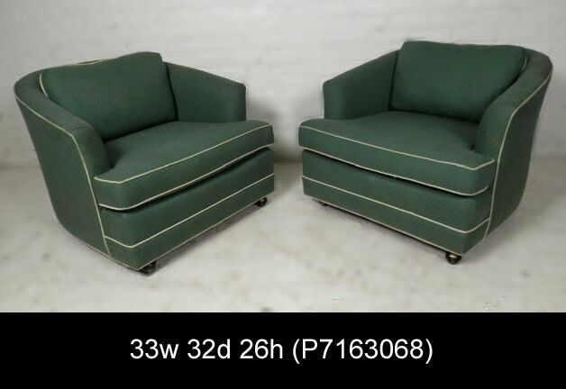 barrel swivel chairs upholstered chairman meaning pair mid-century modern round back arm on casters (p7163068)n | ebay
