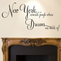 New York Wall Sticker Quote - Dreams Home Bedroom Decal ...