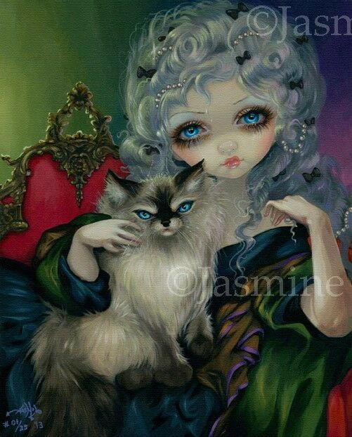 Mythical Creatures In The Fall Wallpaper Princess With Ragdoll Cat Jasmine Becket Griffith Canvas