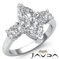 Women's Ideal Marquise Diamond 3 Stone Engagement Ring GIA ...
