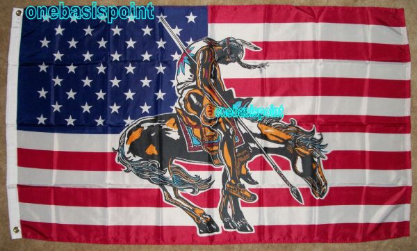 339x539 END OF THE TRAIL FLAG AMERICAN INDIAN HORSE USA