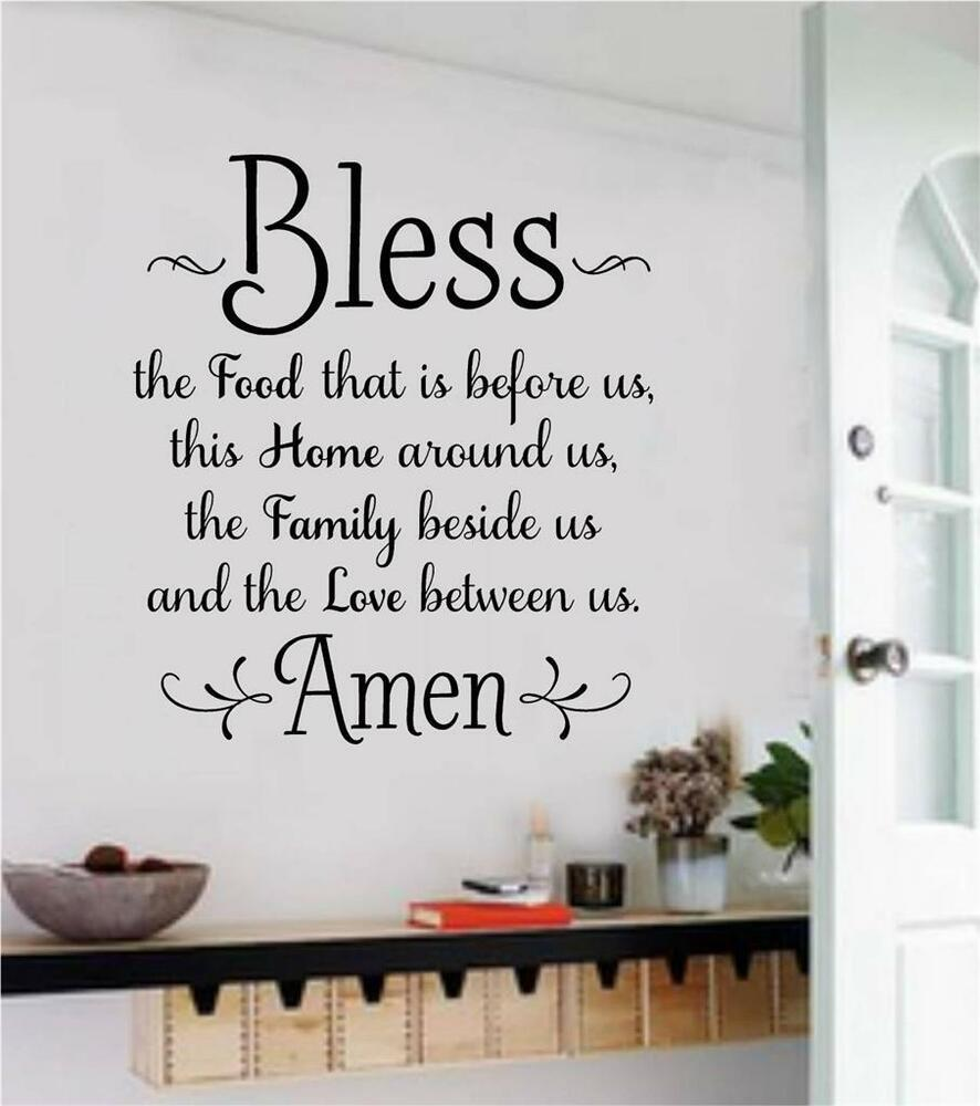 Bless The Food Before Us Wall Decals Vinyl Sticker Words