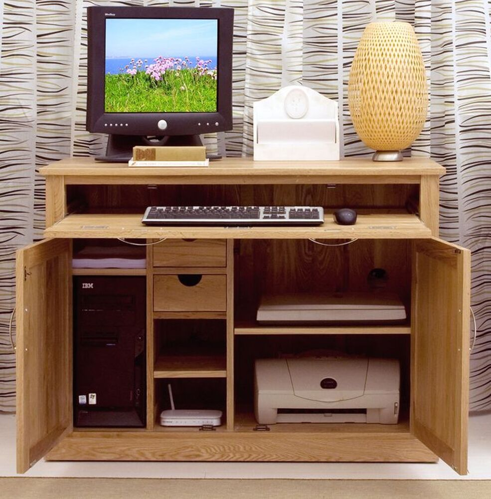Nara Computer Desk Hideaway Hidden Home Office Solid Oak