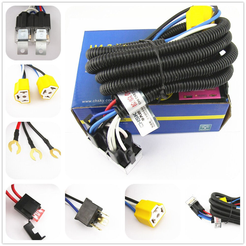 hight resolution of oem ceramic h4 headlight relay wiring harness 2 headlamp light bulb socket plug 3876393930265 ebay