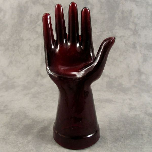 Ruby Red Glass Mannequin Jewelry Ring Display Hand