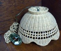 Vintage Wicker Hanging Swag Lamp Light Fixture Scalloped ...