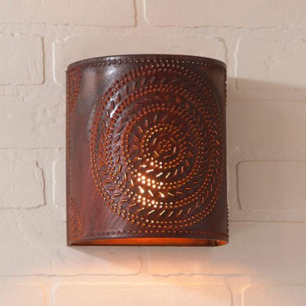 Primitive Rusty Punched Tin Chisel Wall Sconce Light