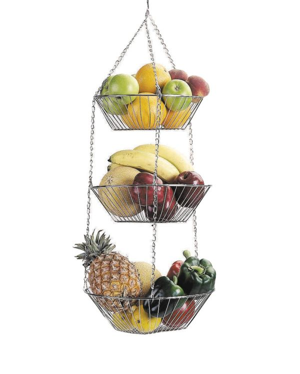 Kitchen Craft 3 Tier Hanging Chrome Plated Fruit
