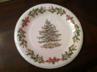Spode CHRISTMAS TREE White Dinner Paper Plates s/8