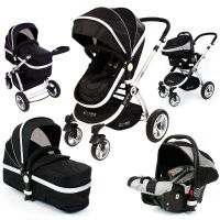 Baby Pram Pushchair Swivel Wheels iSafe Luxury + Car Seat ...