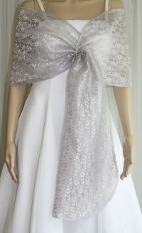 Silver Lace Pull-through Shawl Wrap Scarf Perfect for ...