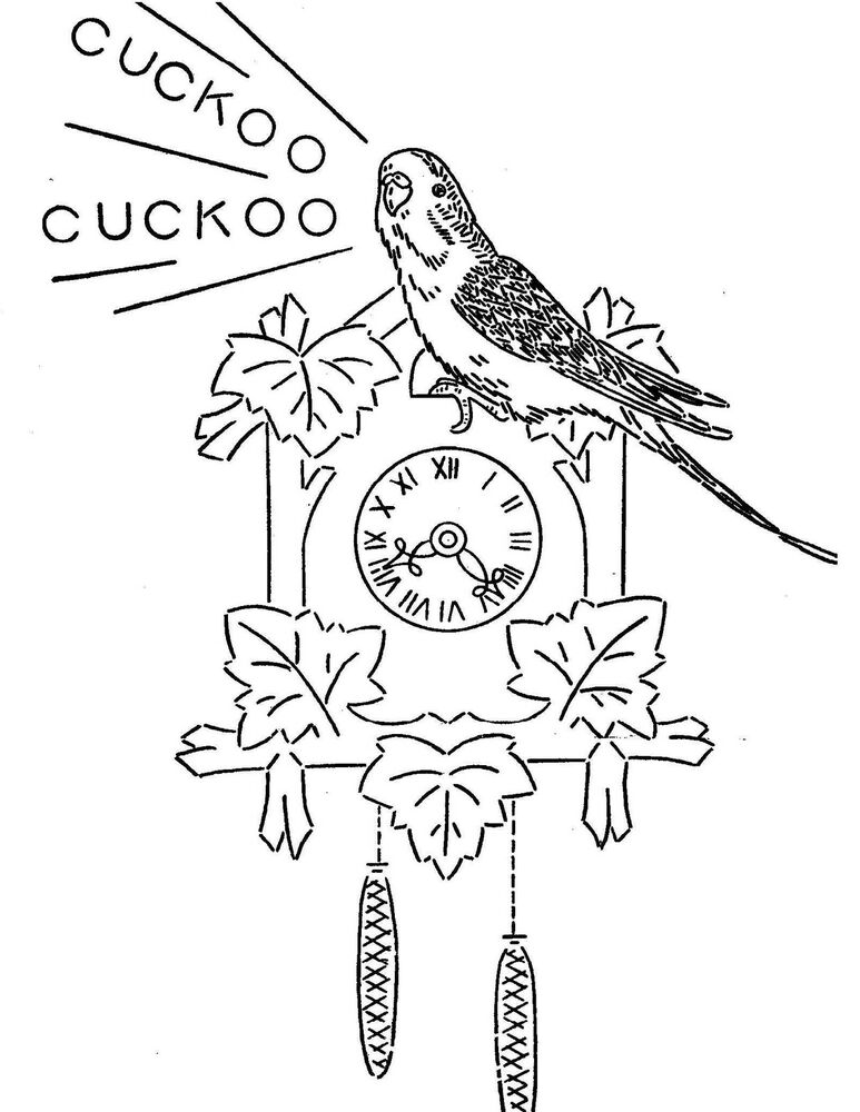 Vintage Embroidery transfer repo 3372 Davy the Parakeet
