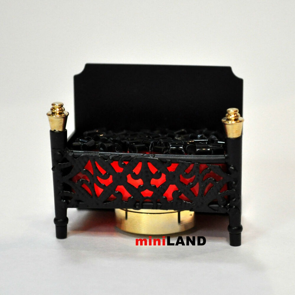 Fire Grate LED Fireplace Dollhouse Glowing Embers light miniature flicker red  eBay