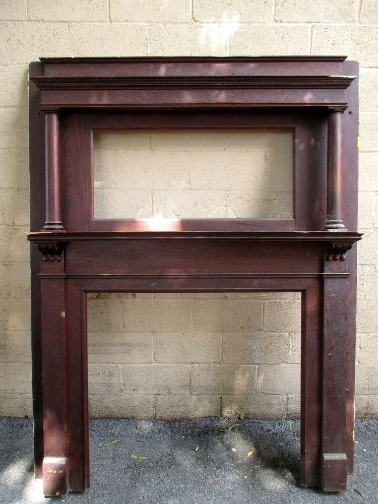 TALL ANTIQUE OAK FIREPLACE MANTEL  415 INCH OPENING  ARCHITECTURAL SALVAGE  eBay