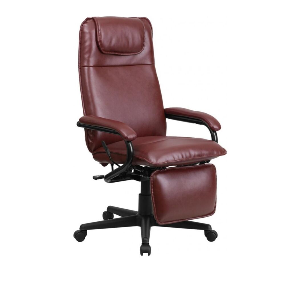 office chair with leg rest wooden rocker glider flash furniture high back burgundy leather executive reclining new   ebay